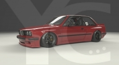 1984-1991 BMW E30 Coupe GReddy Pandem Rocket Bunny RB Style Wide Body Kit including Front Lip, Fender Flare Kit, Side Skirts & Rear Wing