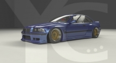 1992-1999 BMW E36 M3 Coupe GReddy Pandem Rocket Bunny RBStyle Wide Body Kit including Front Lip, Fender Flare Kit, Side Skirts, Rear Spats & Wing
