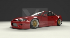 1999-2002 Nissan S15 Silvia GReddy Pandem Rocket Bunny RB Style Wide Body Kit including Front Bumper, Fender Flare Kit, Rear Diffuser & Wing